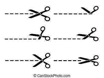 ensemble, découpage, ligne, ciseaux, noir, isolé