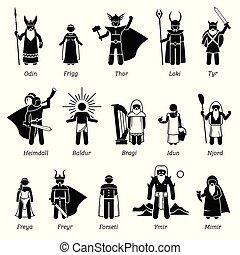 ensemble, déesses, dieux, nordique, ancien, caractères, mythologie, icône
