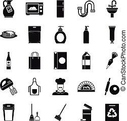 ensemble, dîner, style, icônes simples