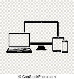 ensemble, de, électronique, appareils, icône