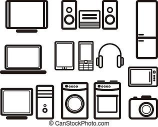 ensemble, de, électronique, appareils