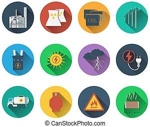 ensemble, de, énergie, icônes