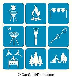 ensemble, de, équipement campant, icônes