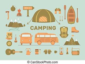 ensemble, de, équipement, pour, camping