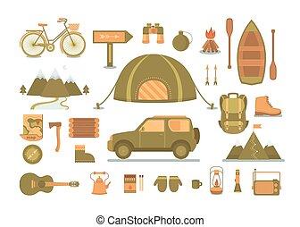 ensemble, de, équipement, pour, camping.