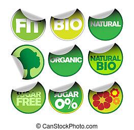 ensemble, de, étiquettes, pour, organique
