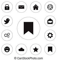 ensemble, de, 12, editable, internet, icons., inclut, symboles, tel, comme, emoji, signet, sécurité, et, more., boîte, être, utilisé, pour, toile, mobile, ui, et, infographic, design.