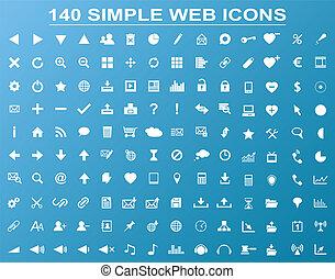 ensemble, de, 140, simple, blanc, navigation, icônes toile, isolé, sur, arrière-plan bleu