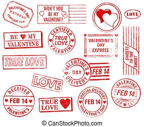 ensemble, de, 15, jour valentine, timbres