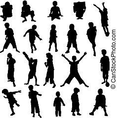 ensemble, de, 20, enfants, silhouettes