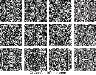 ensemble, de, 20, monochrome, moderne, seamless, motifs