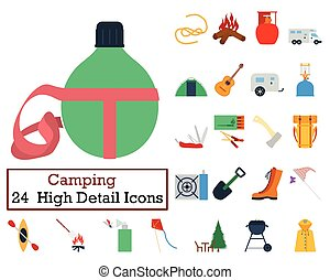 ensemble, de, 24, camping, icônes