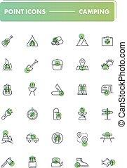 ensemble, de, 30, ligne, icons., camping