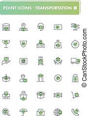 ensemble, de, 30, ligne, icons., transport