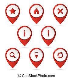 ensemble, de, 3d, vecteur, indicateur, à, les, navigation, icônes