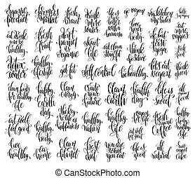 ensemble, de, 50, main, lettrage, inscriptions, sur, sain, vie