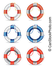 ensemble, de, 6, lifebuoy, vecteur, illustrati