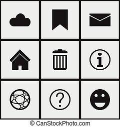 ensemble, de, 9, editable, internet, icons., inclut, symboles, tel, comme, emoji, ciel, faq, et, more., boîte, être, utilisé, pour, toile, mobile, ui, et, infographic, design.