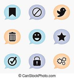 ensemble, de, 9, editable, internet, icons., inclut, symboles, tel, comme, nier, étiquette, emoji, et, more., boîte, être, utilisé, pour, toile, mobile, ui, et, infographic, design.