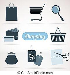 ensemble, de, achats, icônes
