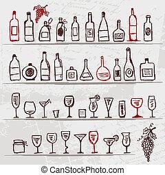 ensemble, de, alcohol's, bouteilles, et, verres vin, sur, grunge, fond