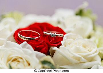 ensemble, de, alliances, dans, rouge blanc, rose, pris, closeup., mariage, concept., foyer sélectif