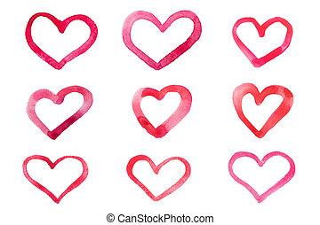 ensemble, de, aquarelle, cœurs, isolé, blanc, fond