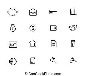 ensemble, de, argent, et, finance, ligne, vecteur, icônes
