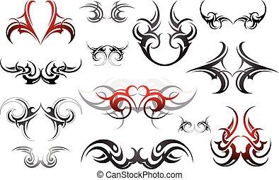 ensemble, de, art corps, tatouage, formes