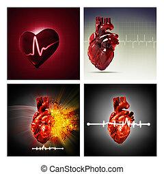 ensemble, de, assorti, santé, et, monde médical, arrière-plans, pour, ton, conception