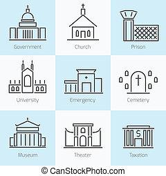 ensemble, de, bâtiments gouvernement, icônes