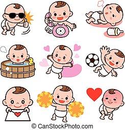 ensemble, de, bébé, illustrations
