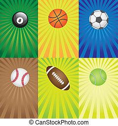 ensemble, de, balles, pour, sport, games.