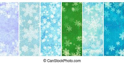 ensemble, de, bannières, à, grunge, noël, arrière-plans, à, flocons neige