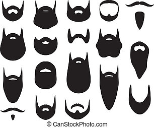 ensemble, de, barbe, silhouettes