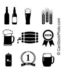 ensemble, de, bière, icônes