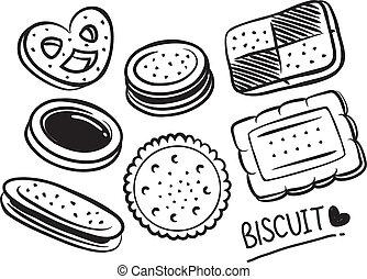 ensemble, de, biscuits