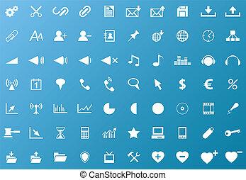 ensemble, de, blanc, navigation, icônes toile
