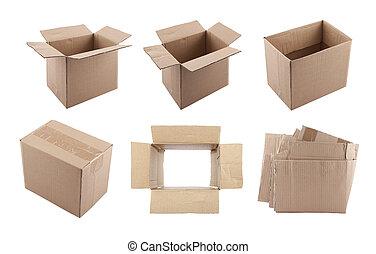 ensemble, de, boîtes carton