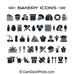 ensemble, de, boulangerie, icônes