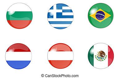 ensemble, de, boutons, à, drapeau, 1