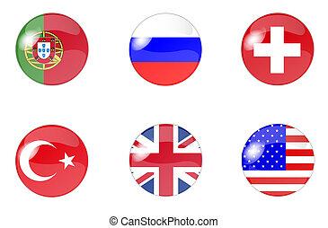 ensemble, de, boutons, à, drapeau, 2