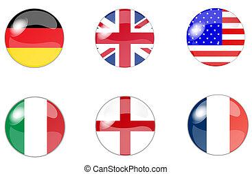 ensemble, de, boutons, à, drapeau, 5