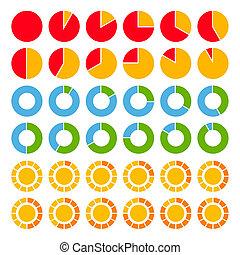 ensemble, de, brillamment coloré, tarte, charts.
