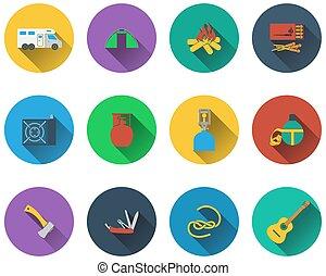 ensemble, de, camping, icônes, dans, plat, conception