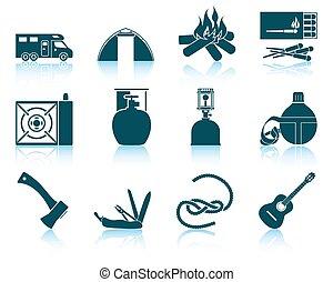 ensemble, de, camping, icons.