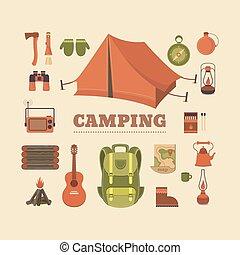 ensemble, de, camping