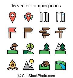 ensemble, de, camping, voyager, et, nature, icônes