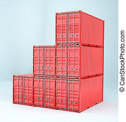 ensemble, de, cargaison, 3d, récipient, livraison