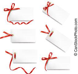 ensemble, de, carte, note, à, rouges, cadeau, arcs